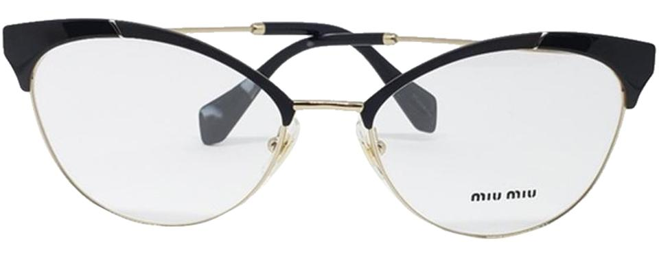 06560f606efa Miu Miu Rx Matte Black   Gold Women Cat Eye Eyeglasses Plastic Metal Frame  with Demo Lens
