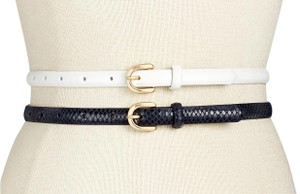 INC International Concepts White & Navy 2-for-1 Skinny Belts