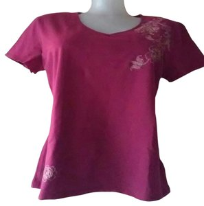 Croft & Barrow Plum V-neck Embroidery Top Plun Purple