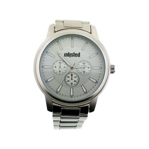 Unlisted by Kenneth Cole 10031973 Men's Silver Steel Bracelet With Silver Analog Dial Watch