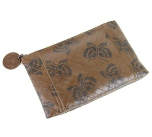 Bottega Veneta Intrecciomirage Leather Butterfly Brown Clutch
