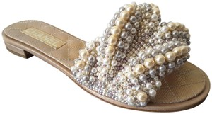 Chanel Mules Pearls Beige Sandals