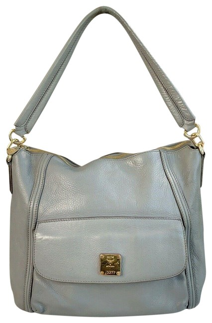 Item - Pebbled Shoulder Gray Blue Leather Hobo Bag