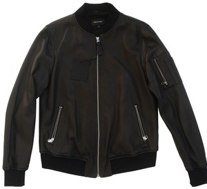 Mackage Bomber Longsleeve black Leather Jacket