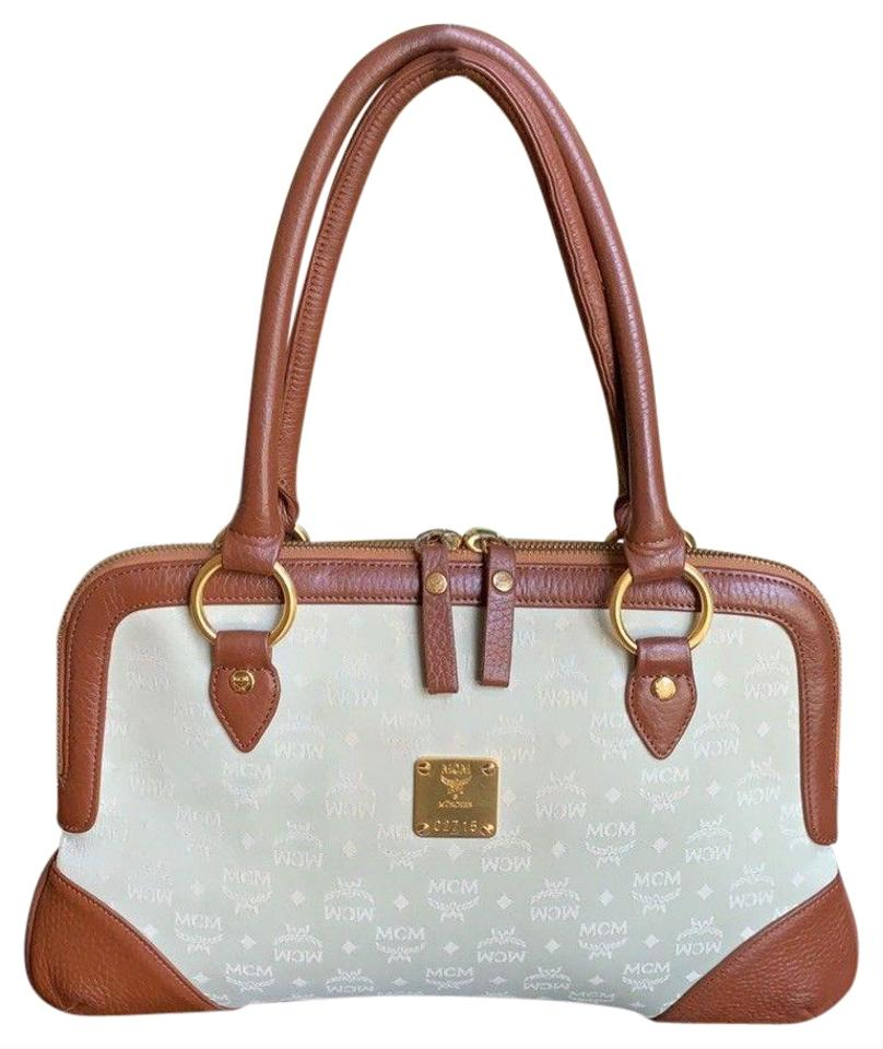 Mcm Satchel In Brown Mint Green