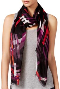 Calvin Klein Red Multicolor Abstract Logo Fringed Scarf