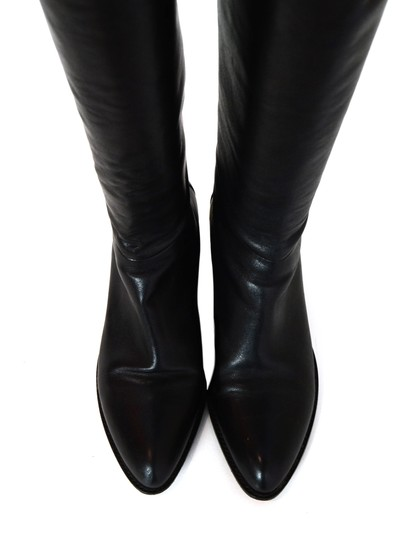 Alexander Wang Knee-high Goldtone Stacked Black Boots