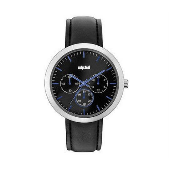 Unlisted by Kenneth Cole 10031956 Men's Black Leather Band With Black Analog Dial Watch