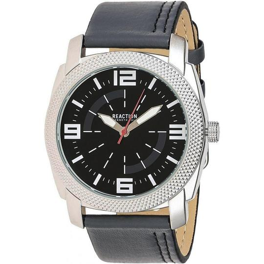 Kenneth Cole 10030585 Men's Grey Leather Band With Black Analog Dial Watch