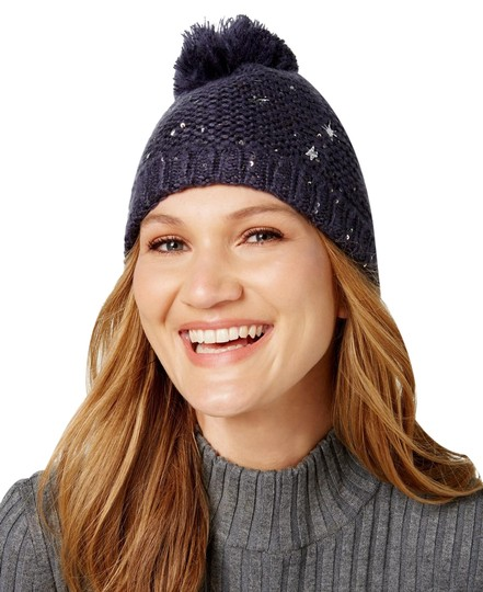 Preload https://img-static.tradesy.com/item/24106155/navy-blue-starburst-knit-pom-pom-beanie-hat-0-1-540-540.jpg