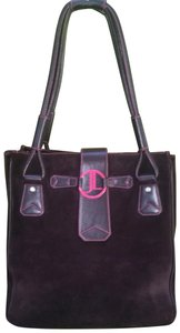 Judith Leiber Leather Suede Swarovski Classic Tote in Dark Chocolate Brown