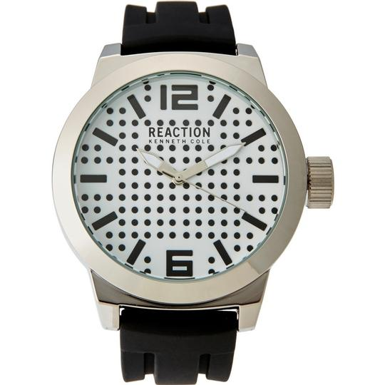 Kenneth Cole 10030579 Men's Black Silicone Band With White Analog Dial Watch