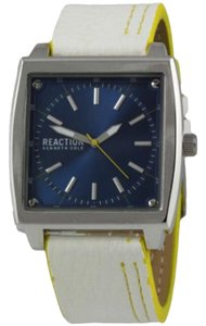 Kenneth Cole 10030580 Men's White Leather Band With Blue Analog Dial Watch