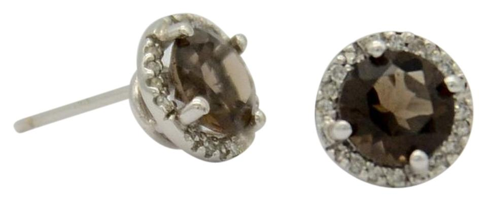 Chocolate Brown Diamond And 14k White Gold Halo Stud Earrings 52 Off Retail