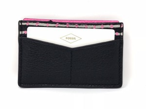 Fossil Fossil Pebbled Leather Card Case Wallet Pink & Black Cars Organizer