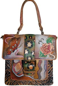 Anuschka Butterfly Flower Hand Painted Leather Satchel in Multicolor