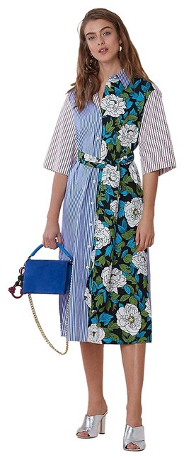 Item - Multicolor Dvf Mixed Printed Floral Belted Cotton Shirtdress 11385dvf Szs Mid-length Casual Maxi Dress Size 4 (S)