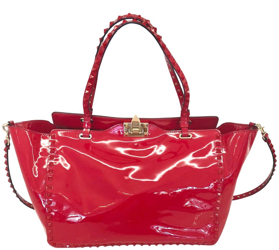 7707e16d9d274 Valentino Punkouture Rockstud Tote Red Patent Leather Shoulder Bag 41% off  retail