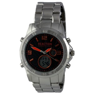 Kenneth Cole 10032093 Reaction Men's Silver Steel Band With Black Analog Dial Watch