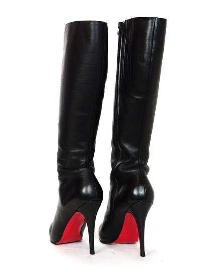 Christian Louboutin Leather Red Bottoms Knee High Black Boots