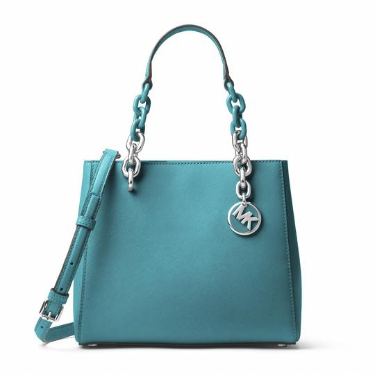 Preload https://img-static.tradesy.com/item/24106344/michael-kors-cynthia-small-tile-saffiano-blue-leather-satchel-0-0-540-540.jpg