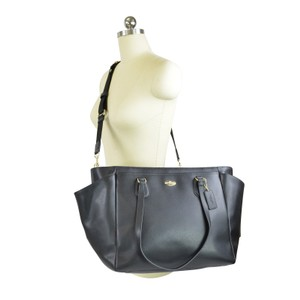 Coach Leather Crossbody Strap Black Diaper Bag