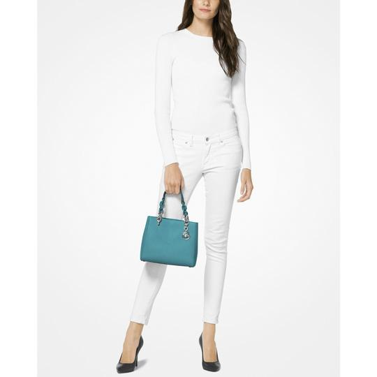 Michael Kors Leather Studded Saffiano Satchel in Blue