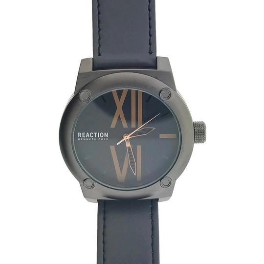 Kenneth Cole 10031258 Men's Grey Leather Band With Black Analog Dial Watch