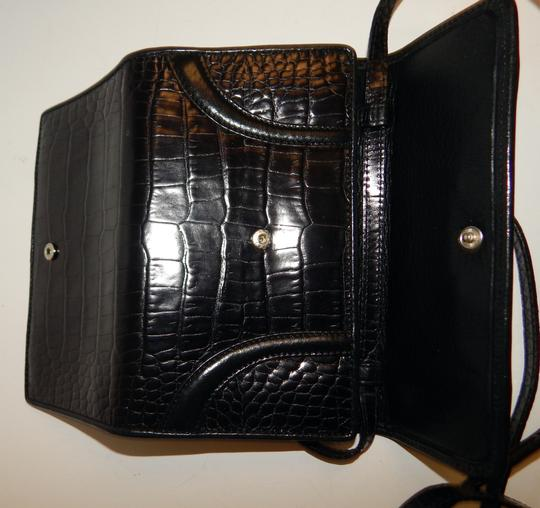 Brighton Organizer Croc Leather Wallet Cross Body Bag