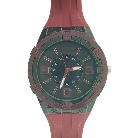 Kenneth Cole 10031247 Men's Red Rubber Band With Black Analog Dial Watch
