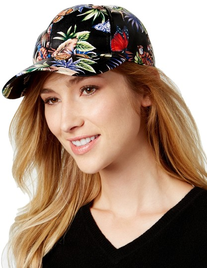 August Hats Black Faux Leather Tropical Floral Print Baseball Cap Hat