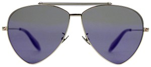 Alexander McQueen Aviator Sunglasses Blue Reflective AM0058S 442139 7015