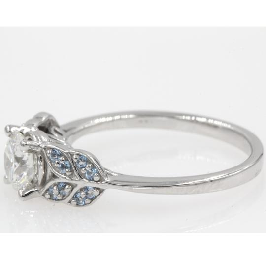 14k White Gold Gia Certified .81 Carat Round Cut Leaf Style Engagement Ring