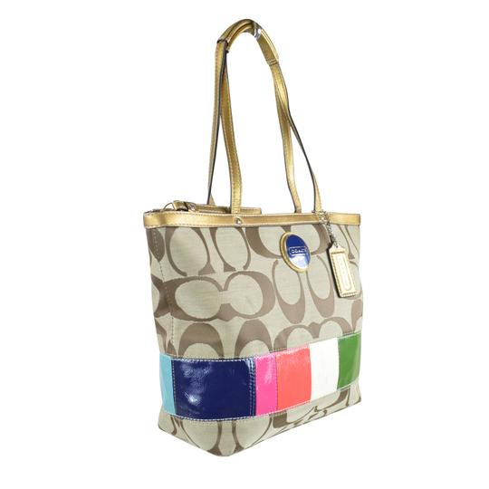 Coach Shopper Signature Fabric 15588 Tote in Khaki Multi