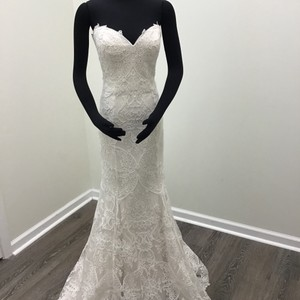Sottero and Midgley Ivory/Soft Blush/Silver Tulle Lace Graham Formal Wedding Dress Size 10 (M)