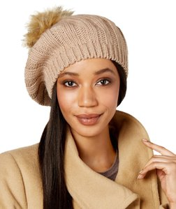 Charter Club Beige Cable Knit Pom Pom Beret Hat