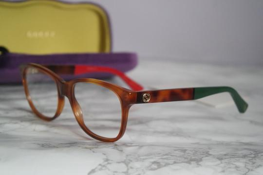 Gucci NEW Gucci 0166O Brown Square Colored Legs Gold Logo Eyeglasses Frames