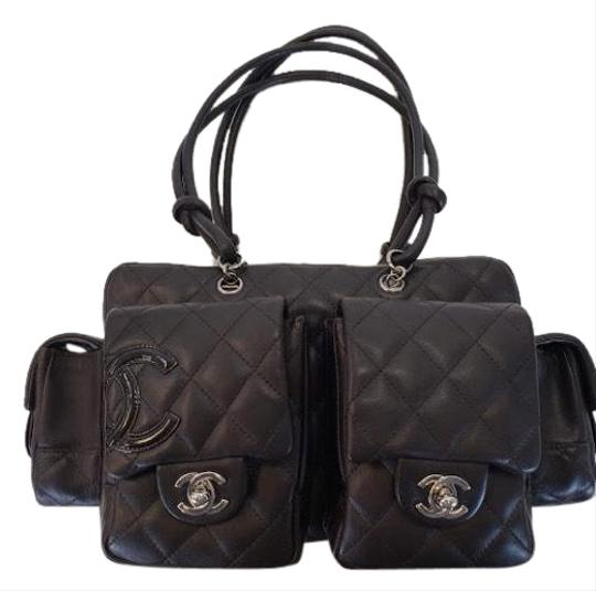 Preload https://img-static.tradesy.com/item/24106489/chocolate-brown-calfskin-leather-patent-leather-logo-silver-tone-ruthenium-hardware-satchel-0-1-540-540.jpg
