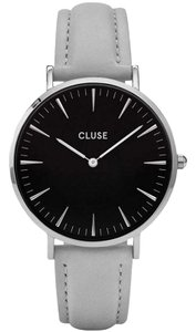 Cluse CL18218 Women's Grey Leather Band With Black Analog Dial Watch