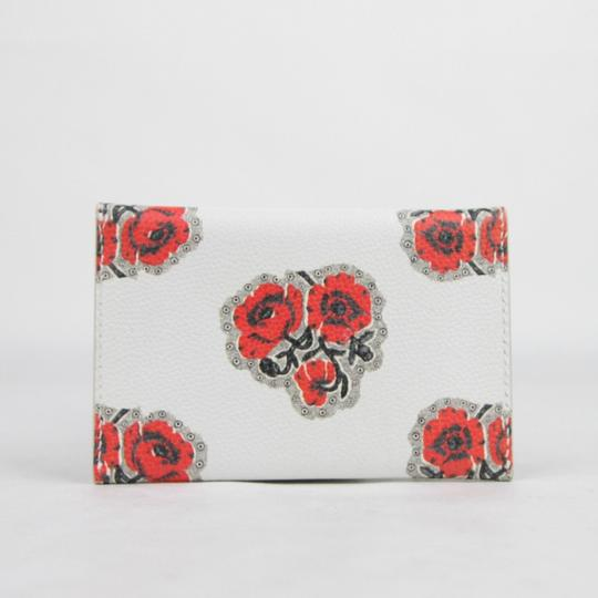 Alexander McQueen Ivory/Red Leather Card Holder with Poppies Print 439197 9970