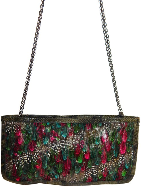 Item - Clutch Peacock Embossed Snake Multicolor Feather Cross Body Bag