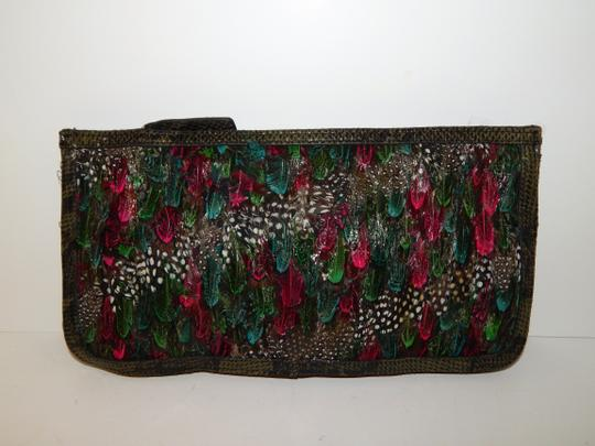 Custo Barcelona Peacock Feather Snake Embossed Clutch Cross Body Bag