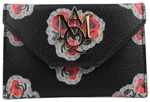 Alexander McQueen Black/Red Leather Card Holder with Poppies Print 439197 1070
