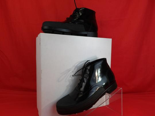 Preload https://img-static.tradesy.com/item/24106538/balenciaga-black-patent-leather-rubber-toe-lace-up-ankle-boots-373426-45-12-shoes-0-0-540-540.jpg
