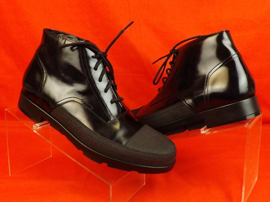 Balenciaga Black Patent Leather Rubber Toe Lace Up Ankle Boots #373426 45 12 Shoes