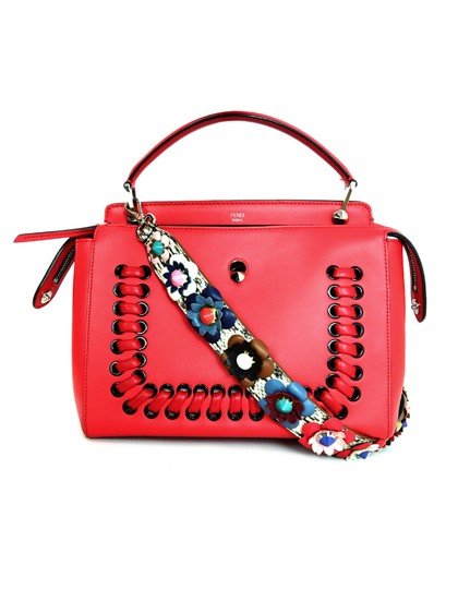 Fendi Leather/ Snakeskin Flowerland Studded Strap You Bag Strap