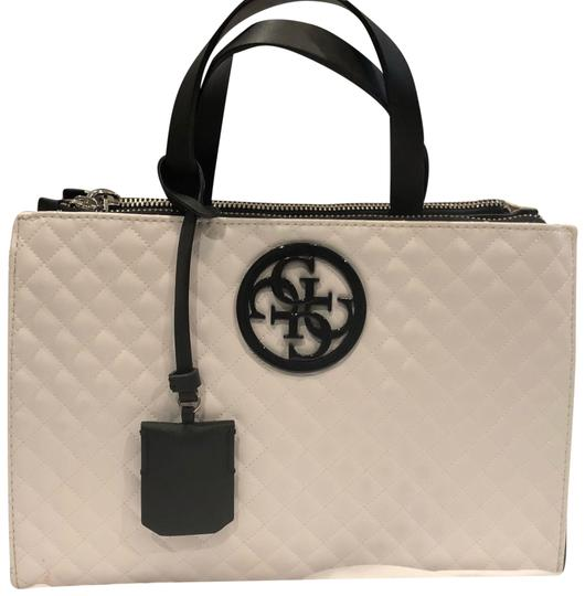 Preload https://img-static.tradesy.com/item/24106565/guess-diamond-stitched-purse-white-and-black-faux-leather-satchel-0-1-540-540.jpg