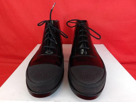 Balenciaga Black Patent Leather Rubber Toe Lace Up Ankle Boots #373426 42 9 Shoes