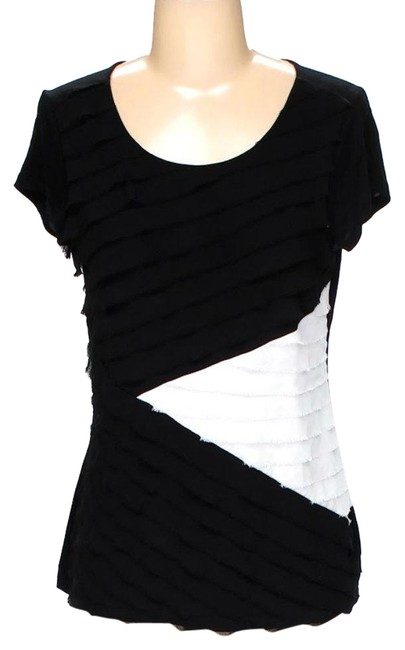Preload https://img-static.tradesy.com/item/24106623/saks-fifth-avenue-black-and-white-short-sleeve-ruffle-shirt-blouse-size-6-s-0-1-650-650.jpg