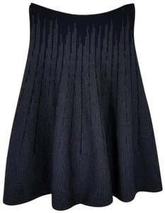 Ports 1961 Flare Knit Wool Silk Cashmere Skirt Navy Blue